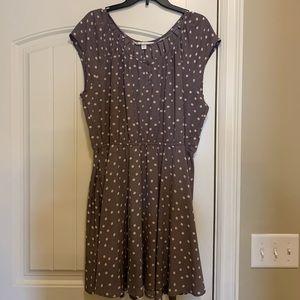 LC Lauren Conrad polka dot print pleat neck dress